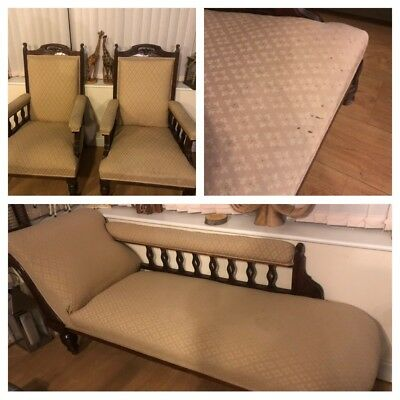 Antique Victorian Style Chaise Longue And 2 Chair