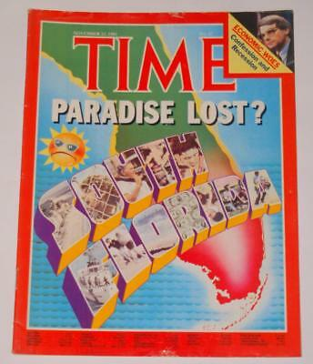 TIME Magazine South Florida Paradise Lost?  Cover/Article November 23 1981
