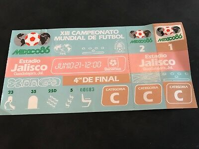 Ticket world cup 1986 in Mexico quarter final France - Brazil unused rare ticket