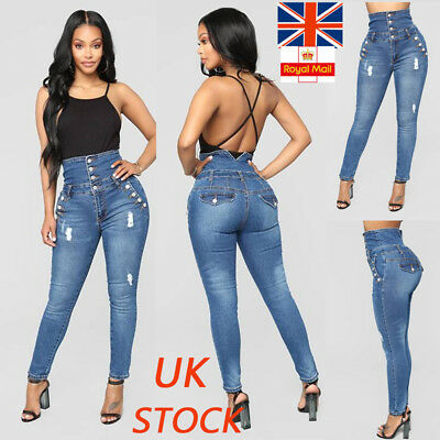 Women High Waist Denim Ripped Pants Ladies Stretchy Elastic Slim Jeans Trousers