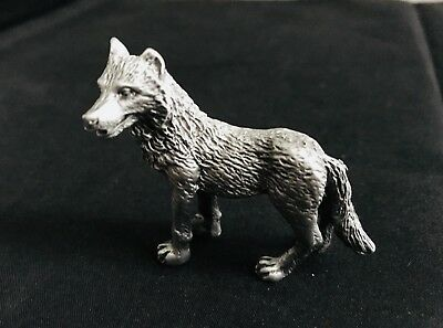 Solid Pewter Silver Coyote Wild Animal Figurine Statue