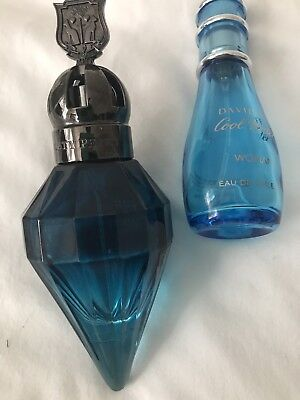 Blue Glass Perfume Bottles (Empty) Katie Perry & Davidoff