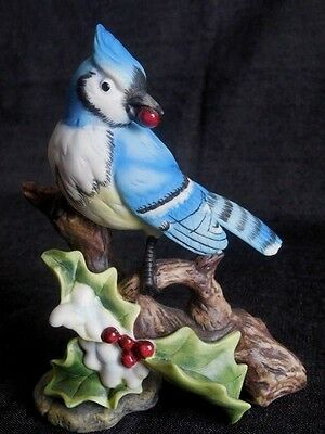 """Figurine Blue jay Porcelian  Hand painted Collectible New in Original Box 5""""Tall"""