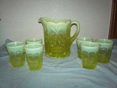 Mosser Glass Vaseline Opalescent Cherry & Cable Pattern Pitcher & 6 glasses