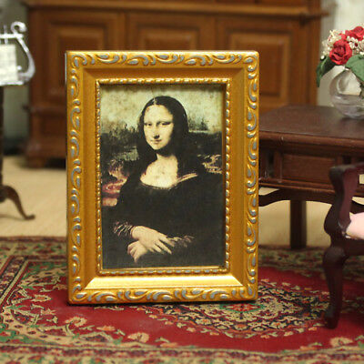 1:12 Dollhouse Miniature Framed Art Wall Picture Portrait Oil Painting Mona Lisa