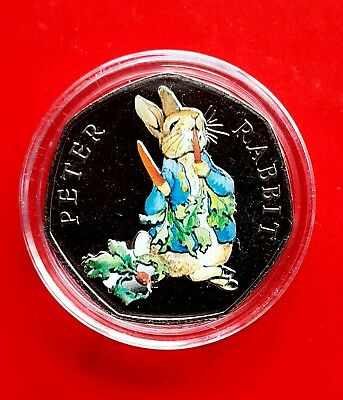 Peter Rabbit 50p 2018 coloured Beatrix Potter UNCIRCULATED coin