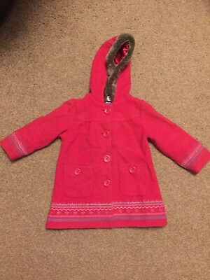M&S AUTOGRAPH BABY INFANT TODDLER GIRLS HOODED COAT SIZE 18-24 MONTHS 1.5-2years