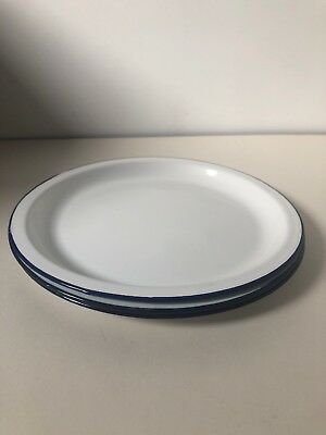 4 X White Enamel Plates Seconds