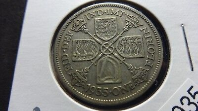 UK Great Britain  1935  2 Shillings Florin 50% silver  coin