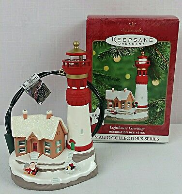 "2000 Hallmark Keepsake Ornament ""LIGHTHOUSE GREETINGS"" Magic 4th in Series~MINT"