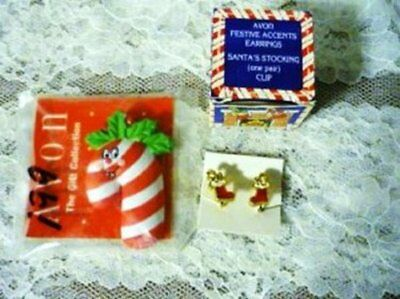 1992 New Avon Santa Holiday Clip On Earrings and Candy Cane Magnet Vintage