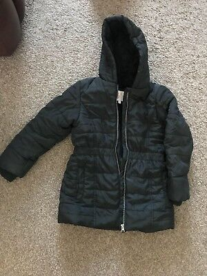 M&S BLACK PUFFER WARM WINTER GIRLS FUR HOODED COAT SIZE 7-8 Years