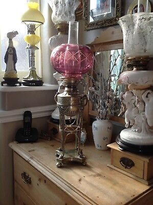 Victorian Hinks Silver Plate Oil Lamp Adams Style  Cranberry Shade