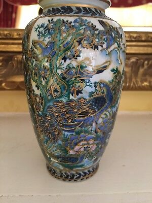 A Pair Of Lovely Blue Green And Gold Vases With Peacock Made In China~