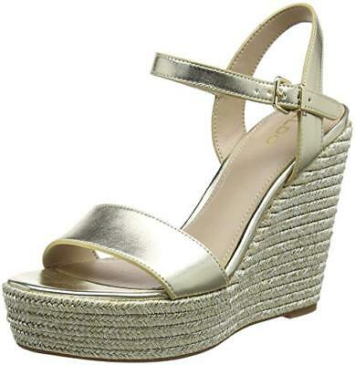 0bf952aaa5b9 Aldo Size 7 40 Lovalewet Gold High Heel Platform Wedge Strappy Shoes Sandals  New