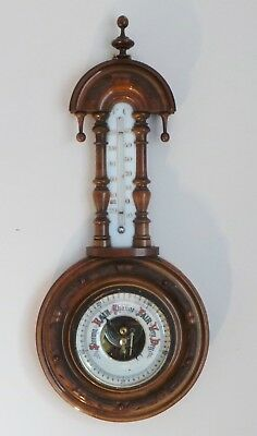 Antique Ornate Carved Finialed Walnut Barometer / Thermometer - Bevelled Glass
