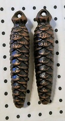 "Lot of 2 Vintage Cuckoo Clock Pinecone Weights, 4 3/4"" long, 275 BU"