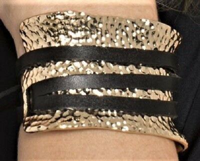 NWT Hammered, Gold Tone, Roman Style, Cuff Bracelet with Brown Leather Strap