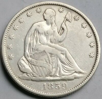 1859 o seated liberty half dollar fine to very fine