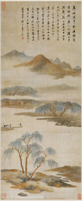 Chinese old scroll painting Sansui landscape Life interest amid water & mountain