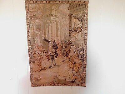 "Antique French Classical 18th Interior Dance Tapestry Wall Hanging 36"" x 24"""