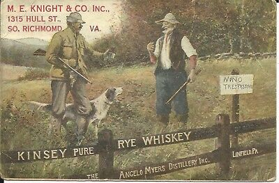 Old 1913 Angelo Myers Distillery Linfield Pa Pennsylvania Kinsey Rye Whiskey P/c