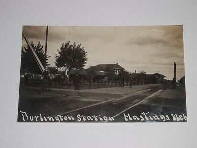 1908 Hastings Nebraska NE railroad train RR depot rppc real photo postcard