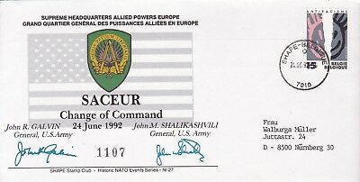 Event Cover 1992 SIGNED John Galvin John Shalikashvili Change of Command Saceur