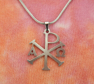 Alpha Omega Chi Rho Necklace, Stainless Steel Christogram Chrismon Charm Pendant
