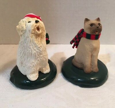 Byers Choice Carolers  TWO Animal Pet Figurines Cat And Dog Christmas 1987 1988