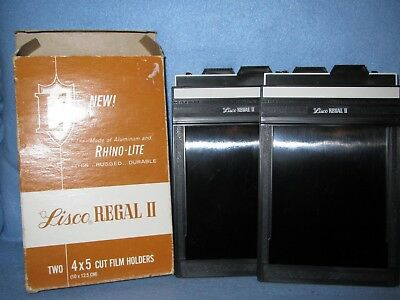 Lisco REGAL II 4 x 5 cut film holders, 2 NOS holders FREE PRIORITY SHIPPING