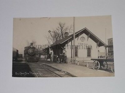 1900's Tonica Illinois IL railroad train RR depot rppc real photo postcard