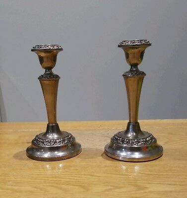 Pair Of Vintage  Ian Heath (Ianthe) Silver Plated Candlesticks Candle Holders