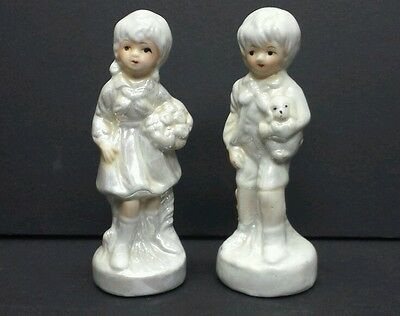 "Lady Angela little girl and young boy with puppy  , pair of 5"" figurine"