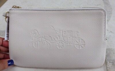 NWT Authentic Coach F23818 Embossed Horse & Carriage Zip Wristlet Bone Leather