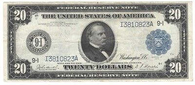 Fr. 999, $20 1914, FED. RES. NOTE, MINNEAPOLIS.,  VERY FINE, UNGRADED