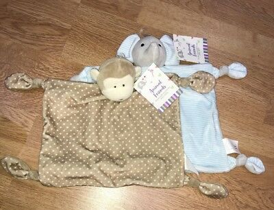 2x Baby Comforter Rattle Bundle Baby Shower Gift Monkey Baby's First Christmas