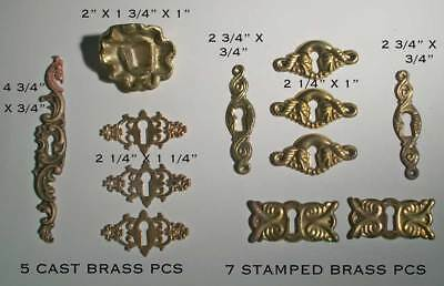 12 Vintage Brass Keyhole Escutcheons-5 cast & 7 Stamped-Estate find