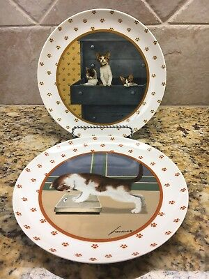 2~ Lowell Herrero Vandor Cat Plates - Made in Japan - 1988 Kitty on SCALE