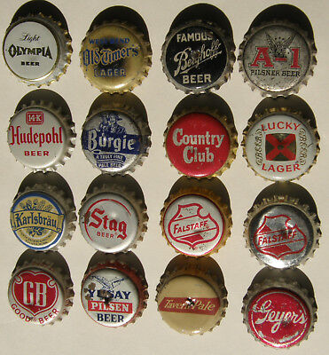 16 different beer bottle caps - A-1, Olympia, Geyer's, Stag, and more