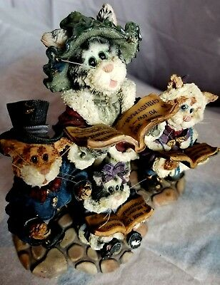 Boyds Bears~Purrstone~Mrs.Fezziwig with Marley,Bob, and Caroline~Cat Figurine