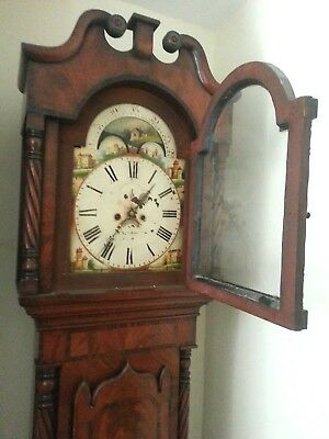Antique Longcase Grandfather Clock Mahogany Moonphase Working c1830 £745!
