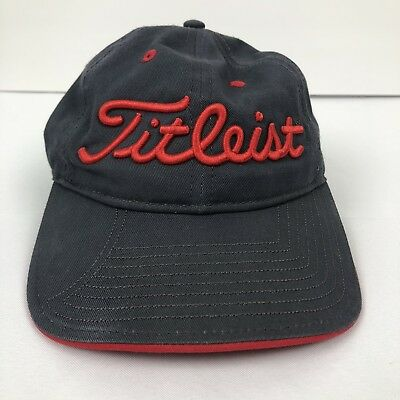 8e5afd1a521 Titleist New Era Adjustable Golf Hat Raised Spell Out Logo Gray Red