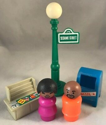Vintage Fisher-Price Little People SESAME STREET LOT- STREETLIGHT, FIGURES, More