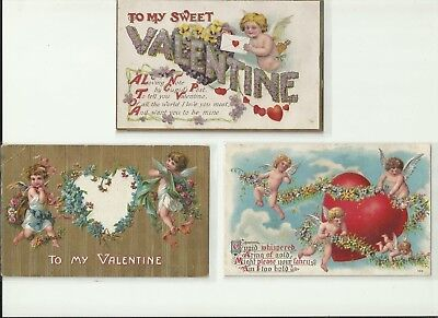 Antique embossed Valentines Day Post Card Lot ; 2 of 3 Unused