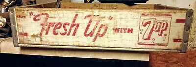 """Vintage  7-UP """"FRESH UP"""" WITH 7-UP WOOD SODA POP CRATE TRAY"""