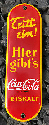 Coca-Cola Enamel/Emaille Push Sign Germany