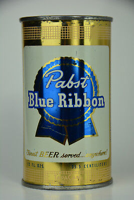 Pabst Blue Ribbon Beer flat-top can, Pabst Brewing Co., Milwaukee, WI  **SHINY**