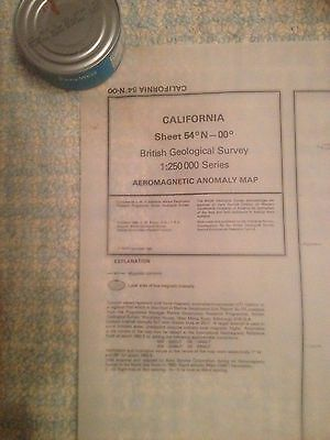 CALIFORNIA British Geological Survey Aeromagnetic Anomoly Map  54N-00