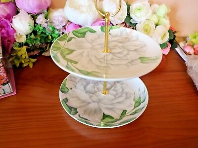 """Vintage China Two Tier Cake Stand Green & White 7.5"""" diameter"""